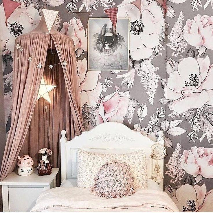 Dusty Rose Wallpaper, Vintage, Floral, Nursery, Wallpaper