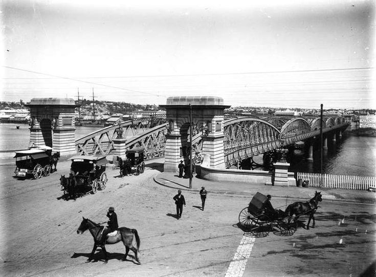 Victoria Bridge, Brisbane, seen from William Street, ca. 1898