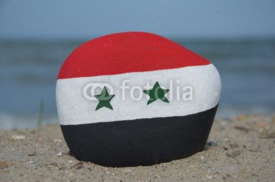 Flag of Syria on a stone