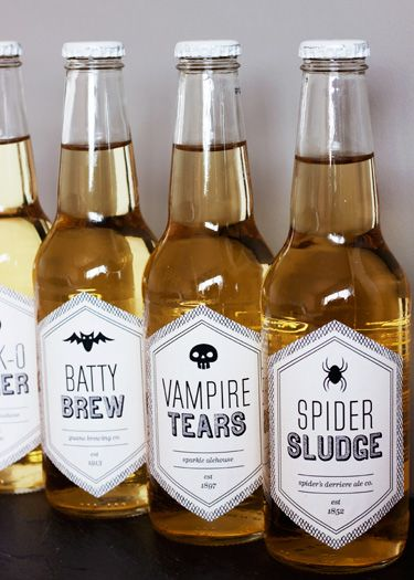 Last-Minute Halloween Decorating: Printable Beverage Labels
