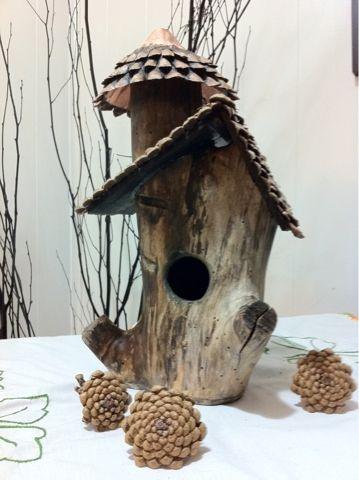 log birdhouse