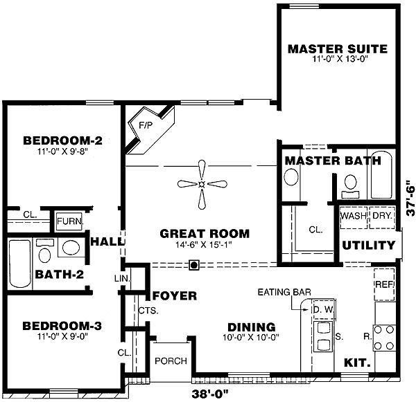 - 9402CH   1st Floor Master Suite, Narrow Lot, PDF, Ranch, Split Bedrooms, Traditional   Architectural Designs