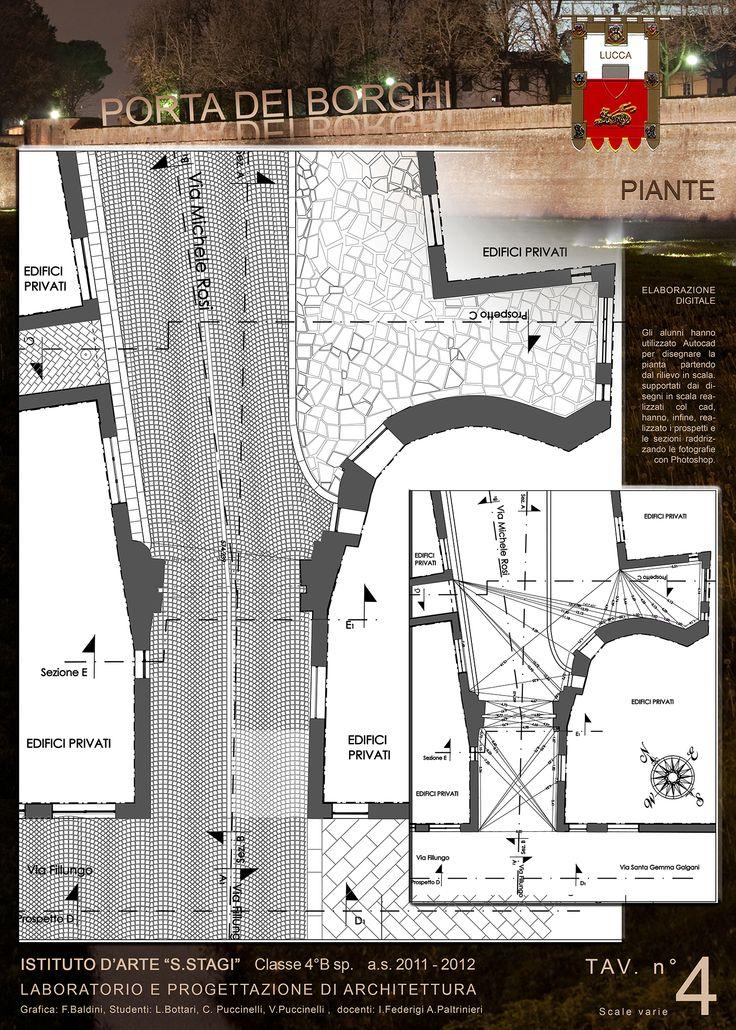 """""""Progetto Madonna dei Miracoli - Lucca 2012"""", planimetrie. Classe 4B sez. Architettura. ISA/Liceo artistico statale """"Stagio Stagi""""."""