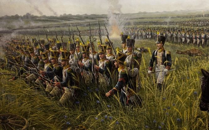 NAP- France: Detail from the Battle of Waterloo, by José-Ferré Clauzel.  French infantry attack on Wellington's left flank.  It was at this point that the Union Brigade broke up the attack with their headlong charge that ended in disaster at the hands of the French