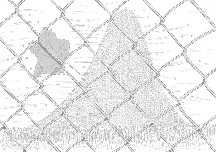 Wide angle view of distant roller coaster slope, seen from behind a chain-link fence. A wind-blown leaf is caught in the wire mesh. Image from Stuart McMillen's comic Peak Oil (2015), from the book Thermoeconomics (2016).