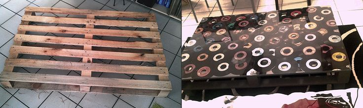 DIY - palette to coffee table with vinyls