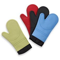 I swear by these oven mitts! Most silicon gloves are too bulky and stiff, but these are very flexible, even for smaller hands! And they are really easy to keep clean :)  Silicone Quilted Oven Mitts - Bed Bath & Beyond