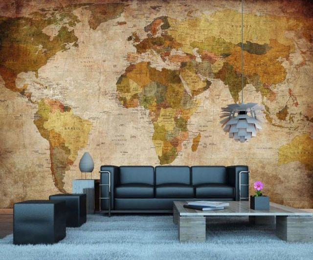 Vintage World Map Wall Mural in 2019
