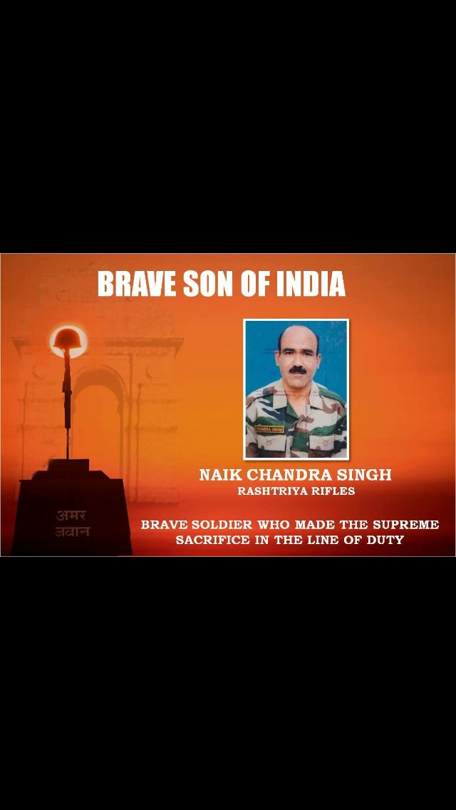 Naik Chandra Singh Karki of 13 Rashtriya Rifles, who hailed from Pali village in Pithoragarh, was martyred in a terrorist attack in Jammu and Kashmir's Bandipora district.Nov 2016