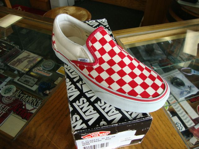 d44209449e Vans Classic Slip On White Red Checkerboard Shoes
