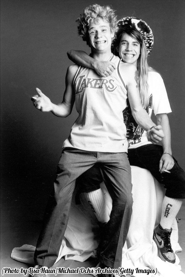 A young Anthony Kiedis and Flea of the Red Hot Chili Peppers, 1986.