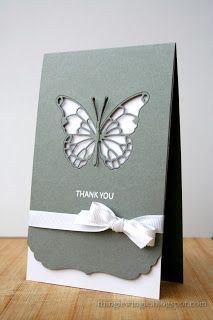 "handmade greeting card from little things: A formal ""thank you"" ...  silver gray and white ... negative cut butterfly ... ribbon wrap with perfect bow ...bottom with  envelope edge die ... simply elegant!!"
