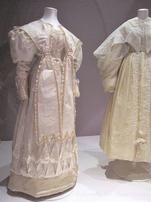 Wedding dress, 1828. Silk trimmed with silk satin and bobbin lace, lined in cotton  Worn by Eliza Larken when she married William (later 6th Baron) Monson on 8th May 1828.