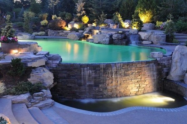 lighting for waterfalls and pool in garden