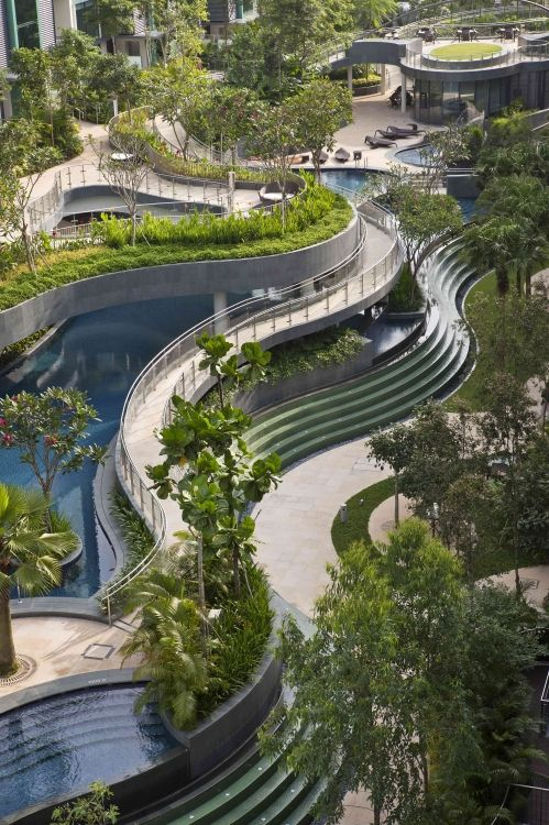 Multi-layered pools and gardens at Duchess residence in Singapore by MKPL…