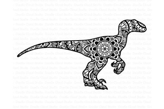 Mandala Dinosaur Svg Raptor Mandala Svg Dinosaur Mandala Svg Files For Silhouette Cameo And Cricut Dinosaur Clipart Png Included Mandala Svg Mandala Mandala Drawing