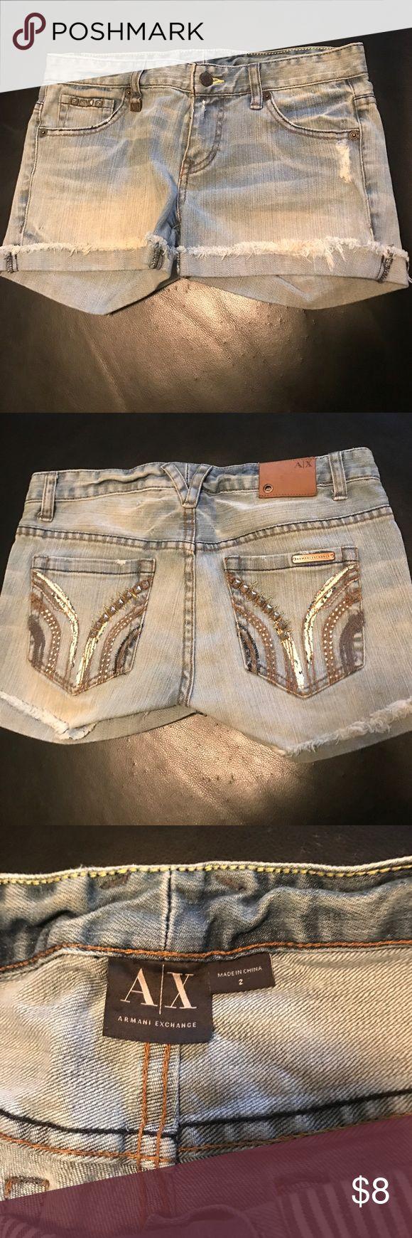 Armani Exchange Shorts Pre Loved! Super cute!! Women's Size 2 A/X Armani Exchange Shorts Jean Shorts