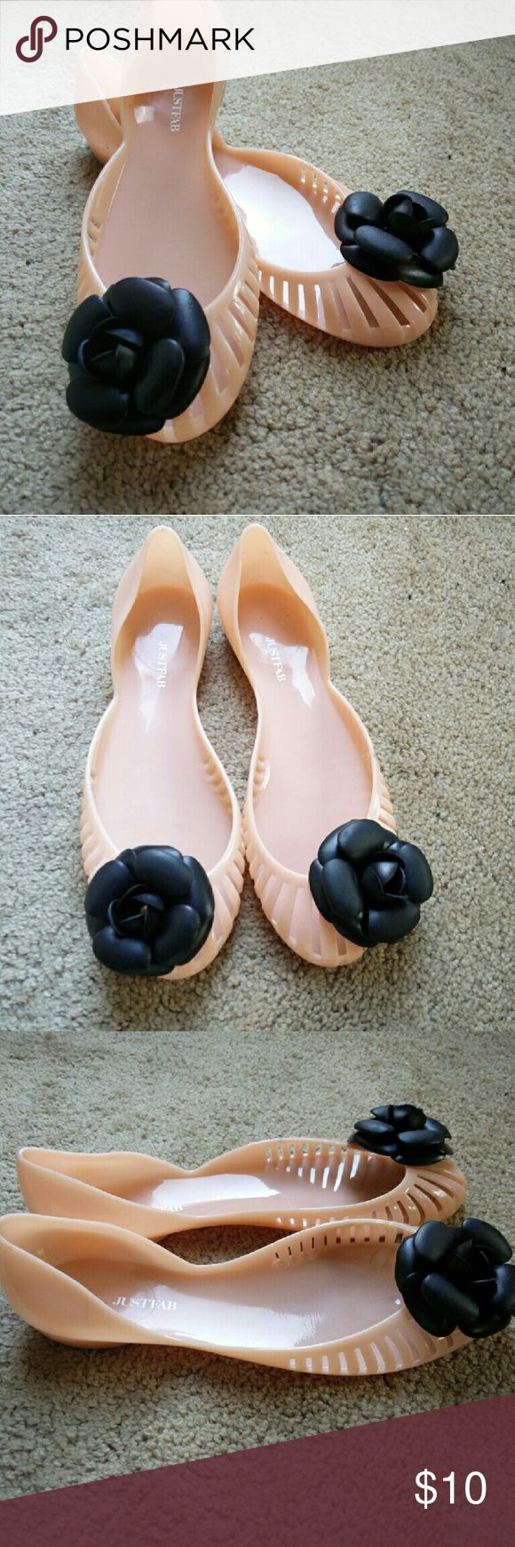 Women's jelly sandals size 10 - Women S Jelly Sandals Cute Pink Jelly Sandals With A Black Flower On The Toe Size