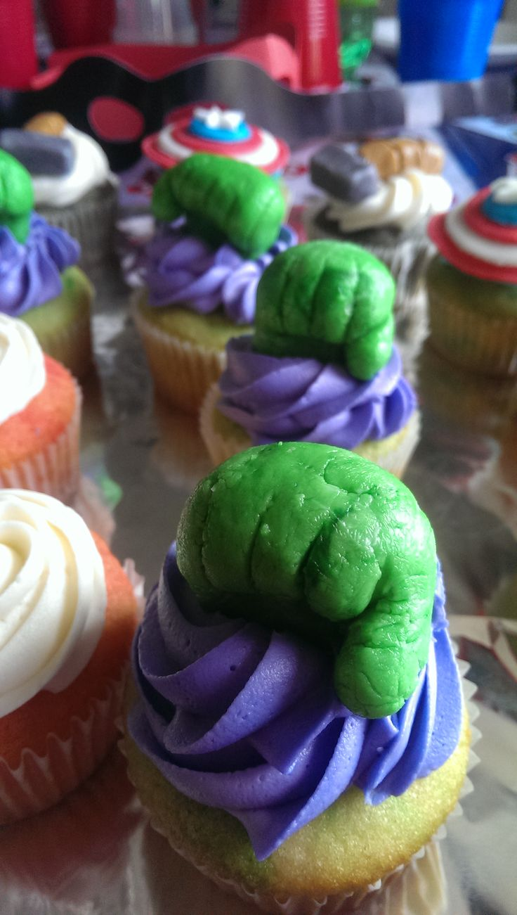 My lil one's Avengers theme cupcakes. #IncredibleHulk