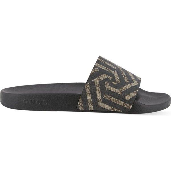 gucci shoes for men. gucci pursuit geo slider flip-flops ($235) ❤ liked on polyvore featuring men\u0027s fashion, shoes, sandals, flip flops, gucci mens shoes for men