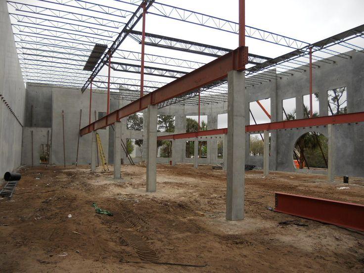 Formed concrete columns i beam steel girder under