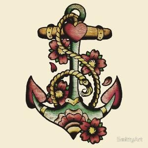 Traditional Anchor Tattoo Design by Ans Kwans