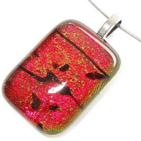 Handgemaakte rood oranje glashanger gemaakt van speciaal dichroide glas.