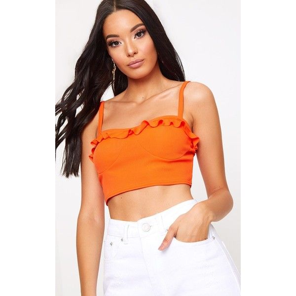 Hot Orange Frill Ribbed Cami Crop Top ($5.54) ❤ liked on Polyvore featuring tops, orange, red crop top, ribbed crop top, red top, going out crop tops and flutter-sleeve top