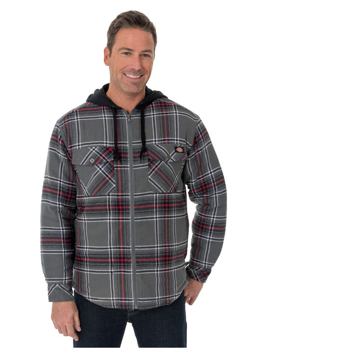 Dickies Men's B&t Flannel Hooded Shirt Jackets - Charcoal/Eng Red 864 LT