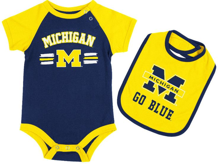 Michigan Wolverines Infant Dribble esie and Bib Set by