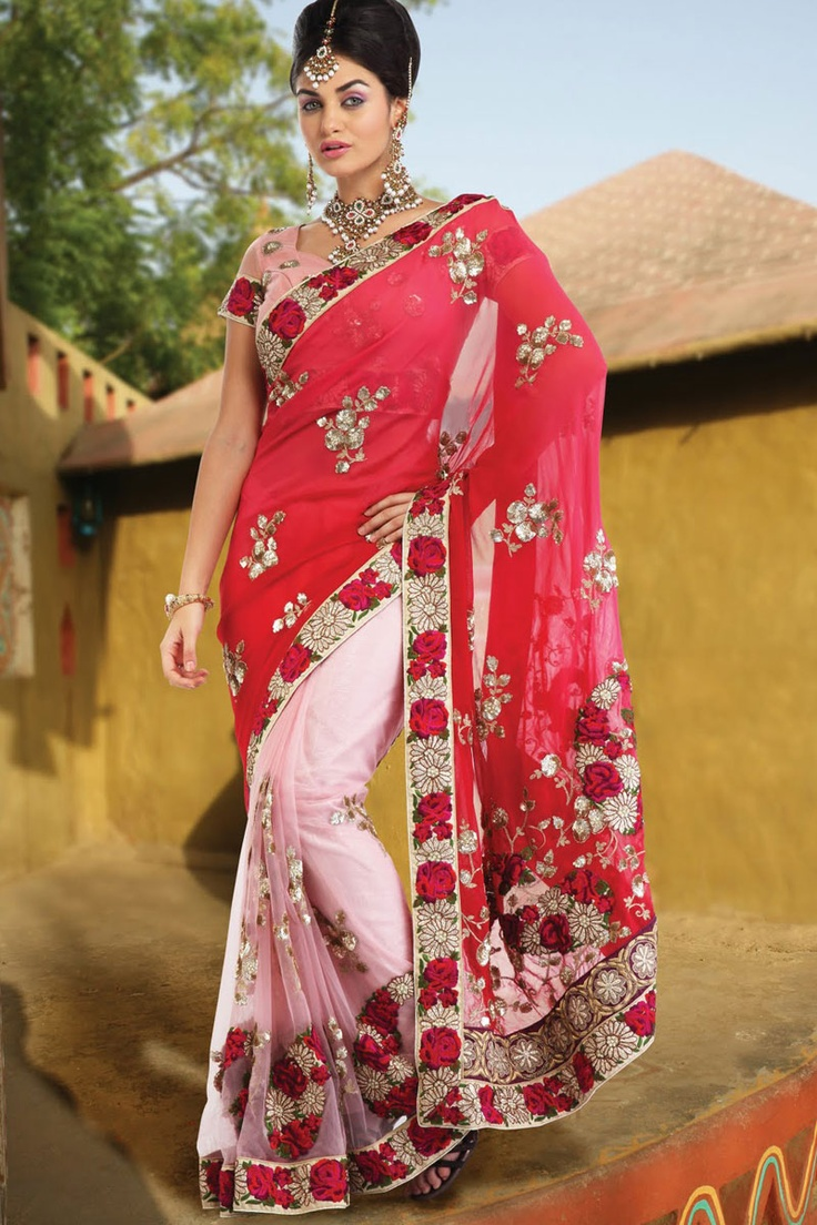 embroidered saree | Red and Pink Faux Georgette Wedding and Festival Embroidered Saree