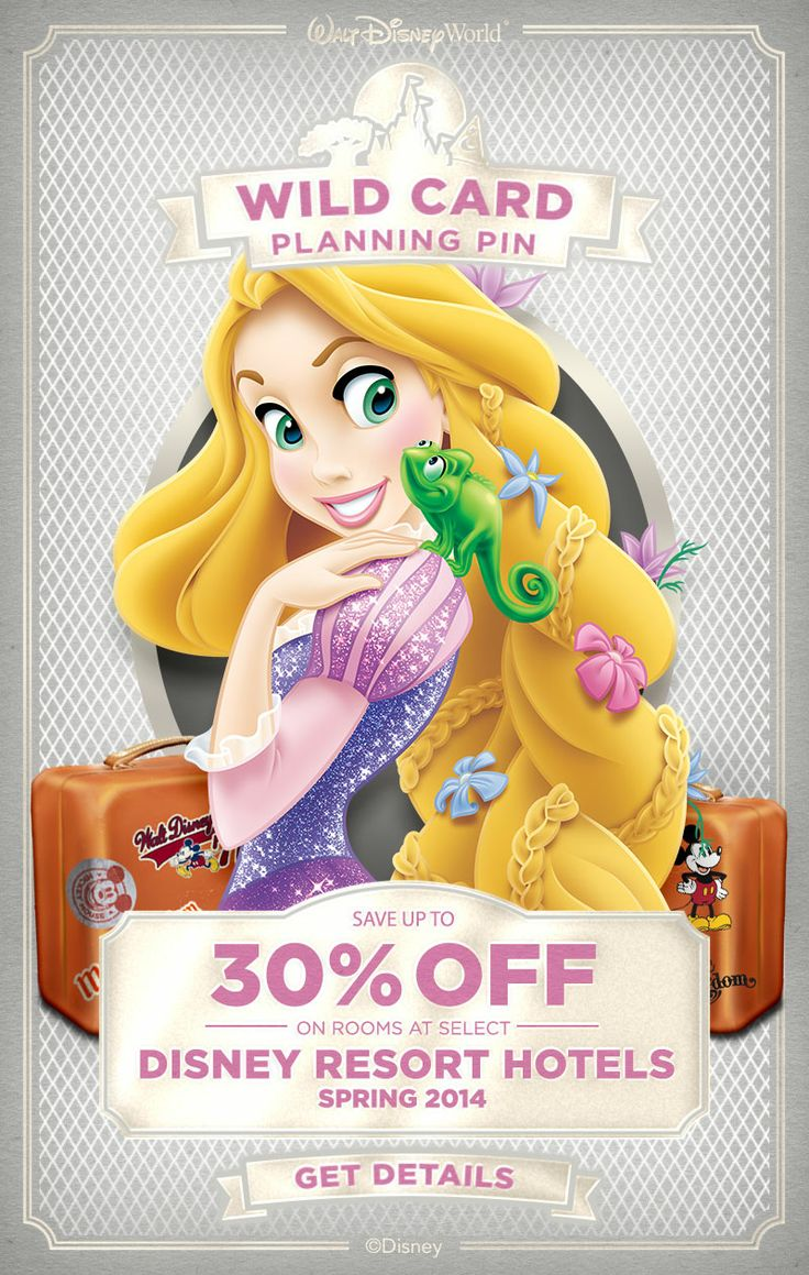 You found a Walt Disney World Planning Pin Wild Card! Save up to 30% on rooms at select Walt Disney World Resort hotels! #vacation #deals #Rapunzel #Tangled