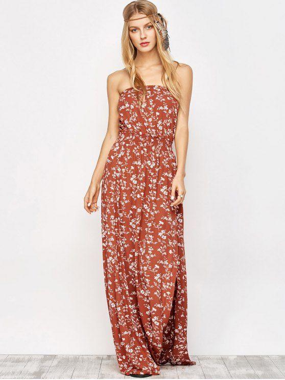 Tiny Floral Maxi Bandeau Dress - ORANGE RED S