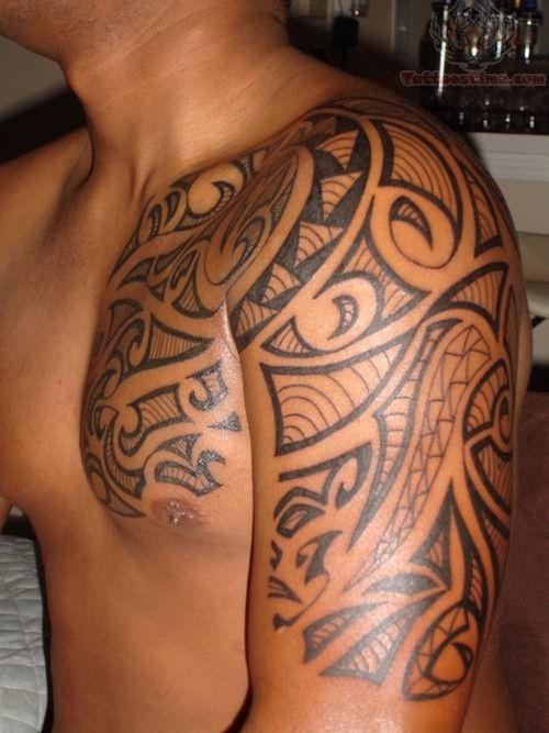 Tribal Tattoos Left Arm Chest