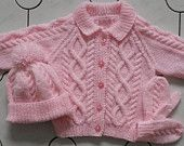 6-12 months, 1-2 yrs, 3-4 yrs, 5-6 yrs, 7-8 yrs baby/child knitted aran cardigan/jacket with hat and mittens set