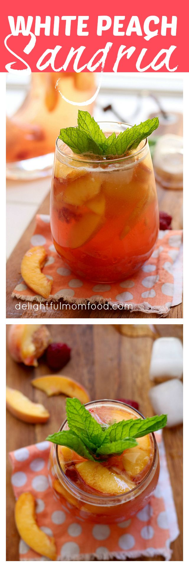All Natural White Peach Sangria With Mint White peach sangria sweetened naturally with fresh berries, peaches and honey. No refined sugars or syrups for this perfectly sparkling drink! #sangria #white #peach #mint #recipe #drinks | Delightful Mom Food