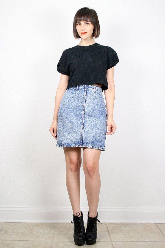Vintage 80s Mini Skirt Acid Wash Denim Skirt Blue Jean ...
