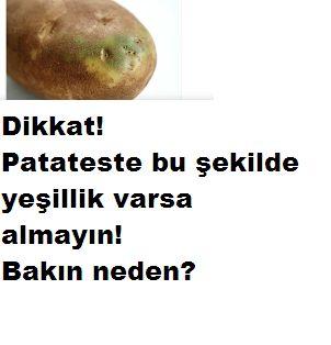 üstünde yeşillik olan patates almayın patates alacağınız zaman çok dikkatli olmalısınız zira zehirlenmelere yol açabilir