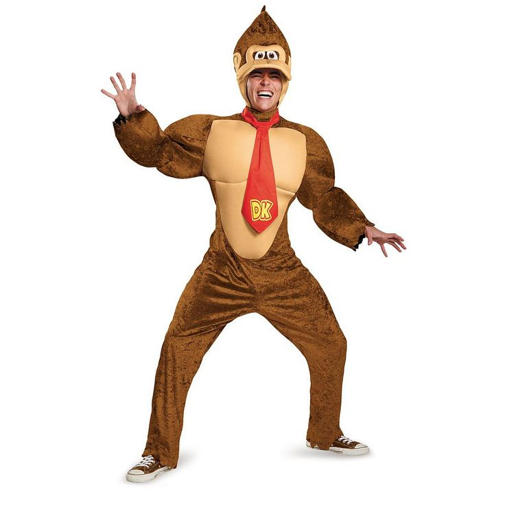 Adult Super Mario Brothers Donkey Kong Deluxe Costume, Men's, Size: XL, Multicolor