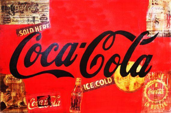 ART Abstract Coca-Cola Vintage 24x36 Acrylic par KathleenArtistPro