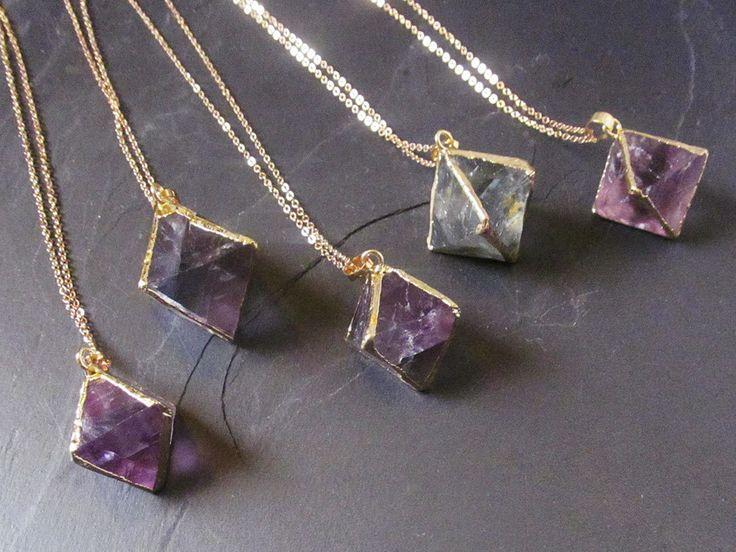 fluorite necklace raw gemstone florite crystal point necklace ,raw crystal necklace