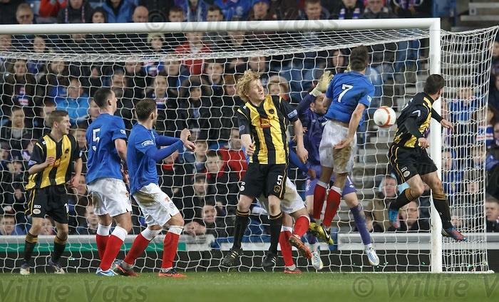 Fraser McLaren heads in the second goal for Berwick Rangers