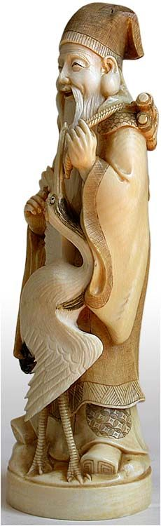 Antique Japanese Carved Ivory Okimono of Jurojin
