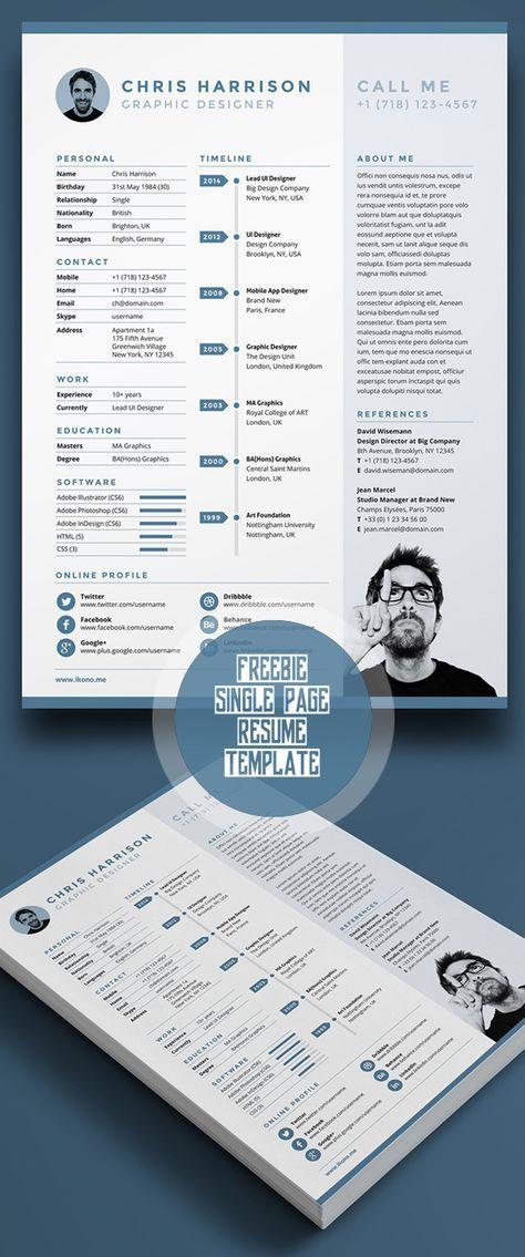 Free Single Page Resume Template PSD 7