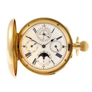 An 18k gold keyless wind full hunter perpetual calendar minute repeating pocket watch