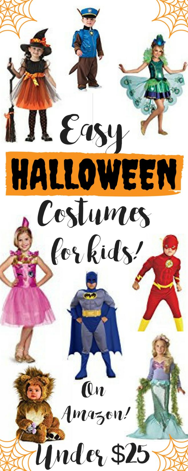 Easy Halloween Costumes for Kids! Under $25.  On Amazon Prime! Easy Halloween costumes.