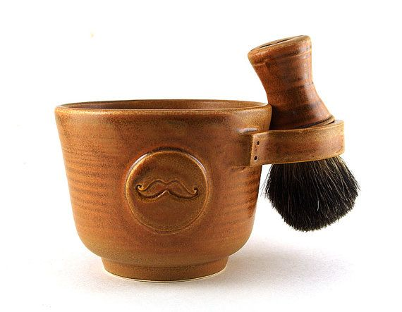 Mens Shaving Set, Brown Mustache Shave Mug, Shaving Bowl, Black Badger Hair Shave Brush and Shave Soap, Unique Groomsmen, Best Man, Men Gift