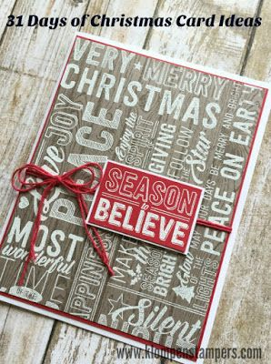 Easy Christmas card using Stampin' Up! Merry Medley background stamp.