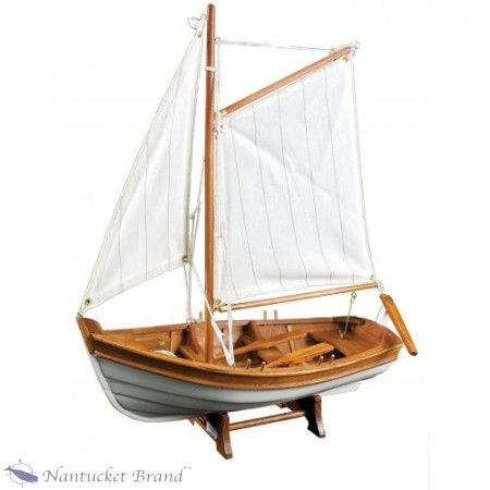 Multiple Canvas Sail with Wooden Model Ship - Nautical Decor