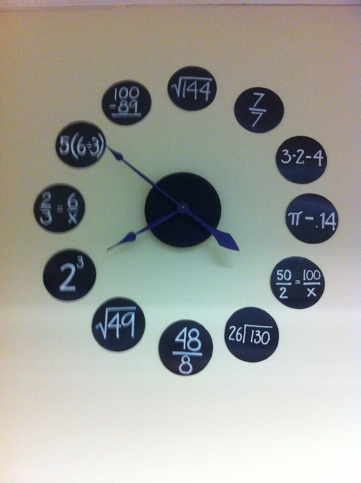 6th grade math classroom clock. Black poster board, white paint pen and HL clock kit.